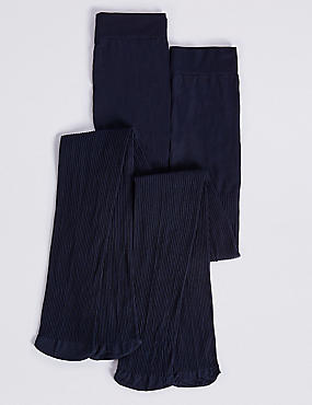 2 Pairs of Tights 100 Denier with Freshfeet™ (6-14 Years), NAVY, catlanding