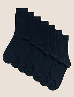 7 Pairs of Ankle School Socks (3-16 Years), NAVY, catlanding