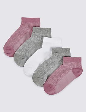 5 Pairs of Cotton Rich Freshfeet™ Trainer Liner Socks