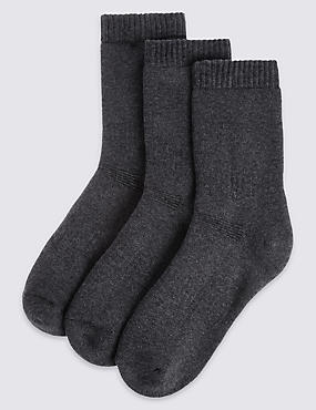 3 Pairs of Cotton Blend Thermal Socks with Freshfeet™ (3-16 Years)