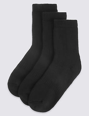 3 Pairs of Modal Blend Thermal School Socks (3-16 Years), BLACK, catlanding