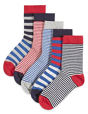 5 Pairs of Freshfeet™ Cotton Rich Nautical Striped Socks (1-7 Years)