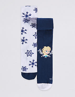 2 Pairs of Cotton Rich Frozen Freshfeet™ Tights (2-8 Years)