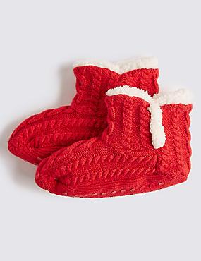 Cosy Slipper Socks (2-14 Years), RED, catlanding