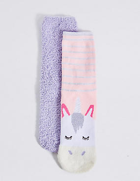 2 Pair of Cotton Rich Unicorn Socks (1-10 Years)