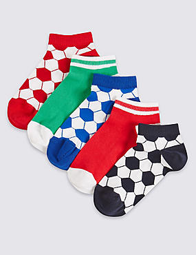 5 Pairs of Cotton Rich Trainer Liner Socks (3-14 Years)