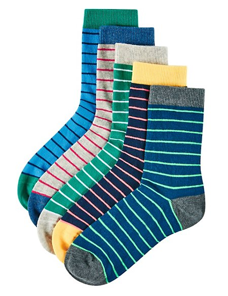 5 Pairs of Freshfeet™ Cotton Rich Rugby Striped Socks (5-14 Years)