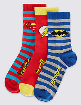 3 Pairs of Freshfeet™ Cotton Rich DC Superheroes Socks with Silver Technology (1-7 Years)