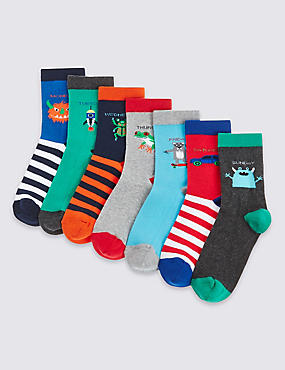 7 Pairs of Freshfeet™ Cotton Rich Days of the Week Socks (2-14 Years)