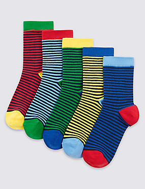 5 Pairs of Freshfeet™ Striped Socks (1-14 Years)