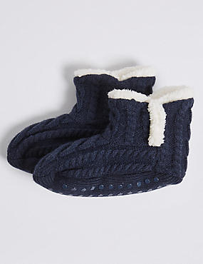 1 Pair of Cosy Slipper Socks (2-14 Years), NAVY, catlanding
