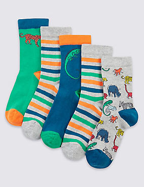 5 Pairs of Freshfeet™ Cotton Rich Socks (1-14 Years)
