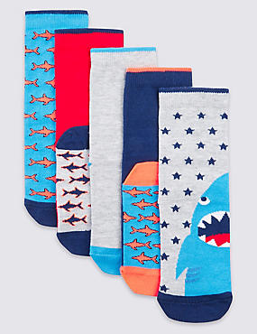 5 Pairs of Freshfeet™ Cotton Rich Socks (3-16 Years)