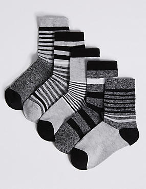 5 Pairs of Cotton Rich Socks (1-14 Years), BLACK MIX, catlanding