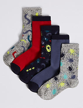 5 Pairs of Cotton Rich Socks (1-14 Years), DARK NAVY MIX, catlanding