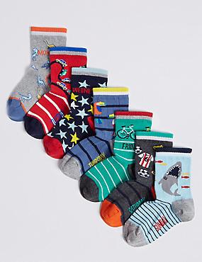 7 Pairs of Cotton Rich Socks (1-6 Years), MULTI, catlanding