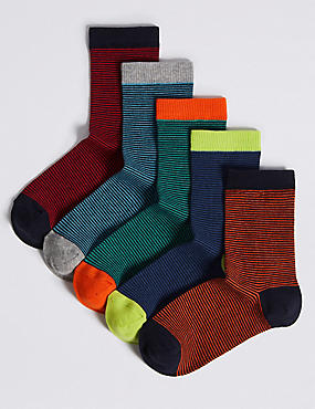 5 Pairs of Cotton Rich Socks (1-14 Years), MULTI, catlanding