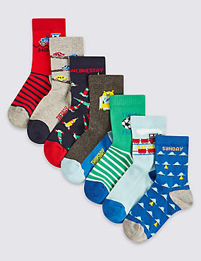 7 Pairs of Cotton Rich Socks (1-6 Years)