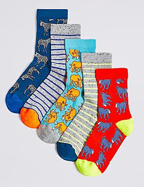 5 Pairs of Animal Ankle Socks (1-14 Years), MULTI, catlanding