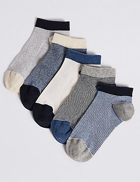 5 Pairs of Trainer Liner Socks (3-16 Years), MULTI, catlanding