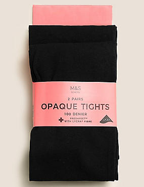 2 Pack Tights 100 Denier with Freshfeet™ (6-14 Years), BLACK, catlanding
