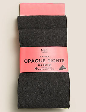2 Pairs of Tights 100 Denier with Freshfeet™ (6-14 Years), GREY MARL, catlanding