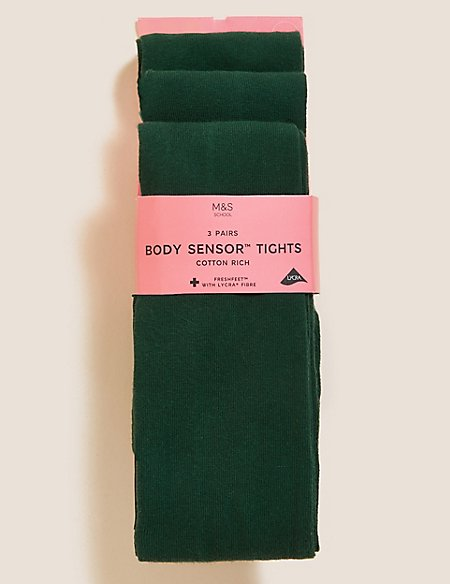 3 Pairs of Freshfeet™ Cotton Rich Body Sensor™ School Tights (4-14 Years)
