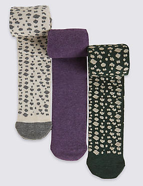 3 Pairs of Freshfeet™ Cotton Rich Assorted Tights with Silver Technology (2-14 Years)