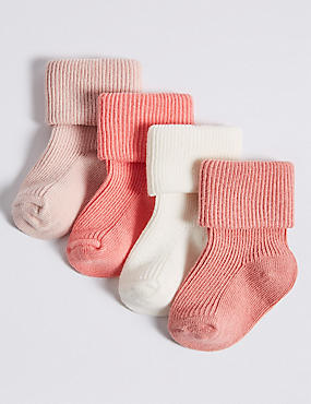 4 Pairs of Cotton Rich Baby Socks (0-24 Months), PINK MIX, catlanding
