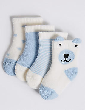 4 Pairs of Cotton Rich Baby Socks (0-12 Months), SOFT BLUE, catlanding