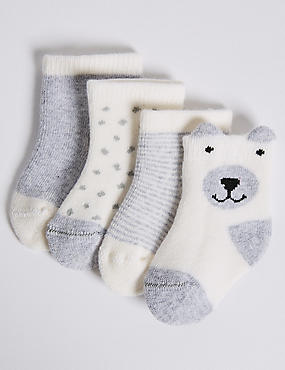 4 Pairs of Cotton Rich Baby Socks (0-24 Months), GREY, catlanding