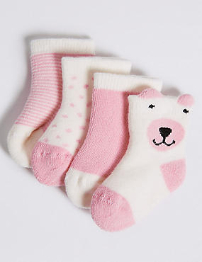4 Pairs of Cotton Rich Socks (0-24 Months)