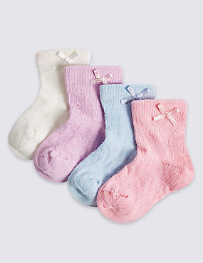 4 Pairs of Ankle Baby Socks (0-24 Months), PINK MIX, catlanding