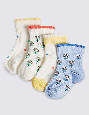 4 Pairs of Printed Ankle Baby Socks (0-24 Months), BLUE MIX, catlanding