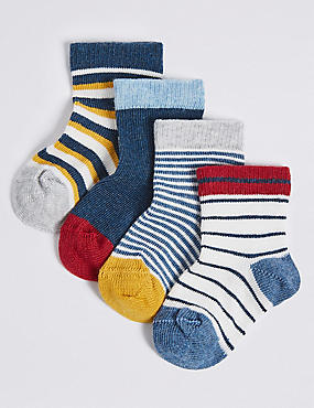 4 Pairs of Striped Socks with StaySoft™ (0-24 Months), MULTI, catlanding