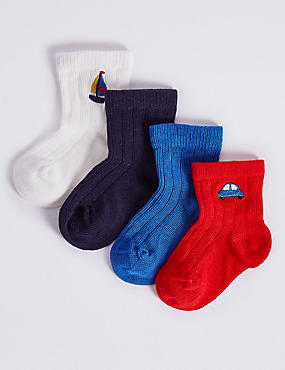 4 Pairs of Socks with StaySoft™ (0-24 Months), MULTI, catlanding
