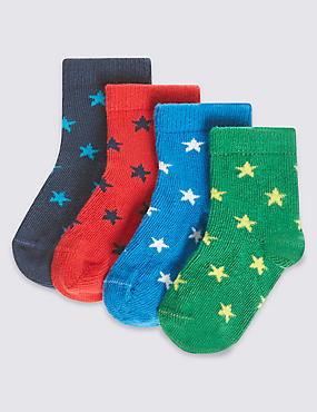 4 Pairs of Cotton Rich StaySoft™ Star Bright Socks (0-24 Months)