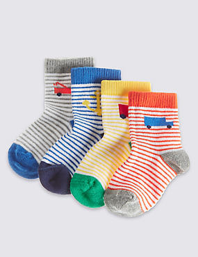 Cotton Rich StaySoft™ Transport Theme Socks (0-24 Months)