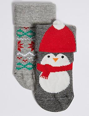 2 Pairs of Penguin Baby Socks (0 - 24 Months), MULTI, catlanding