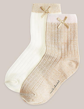 Girls 2 Pack Ribbed Sock (0 - 5 years)