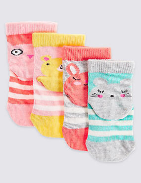 4 Pairs of Cotton Rich Stay Soft Novelty Socks