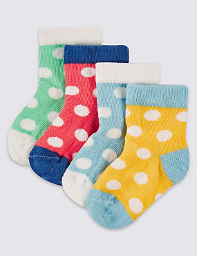 4 Pairs of Spotted Socks (0-24 Months)