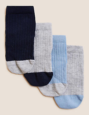 4 Pairs of Cotton Rich Socks with StaySoft™ (0-24 Months)