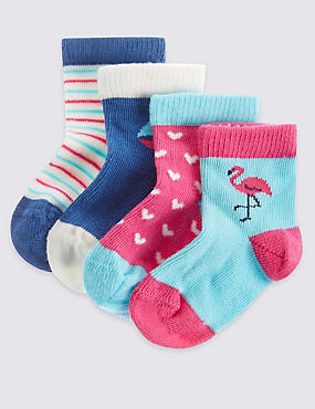 4 Pack of Cotton Rich Socks with StaySoft™ (0-24 Months)