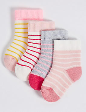 4 Pairs of Cotton Rich StaySoft™ Socks (0-24 Months)