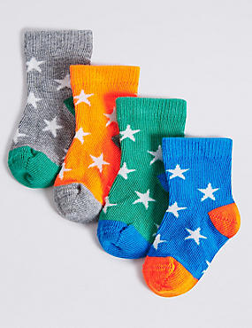 4 Pairs of Star Print Socks (0-24 Months)