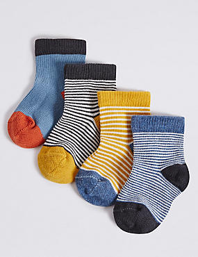 4 Pairs of Cotton Rich Striped Socks (0-24 Months)
