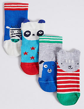 4 Pairs of Cotton Rich Novelty Socks (0-24 Months)