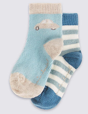 2 Pairs of Cotton Rich Socks (0-24 Months)