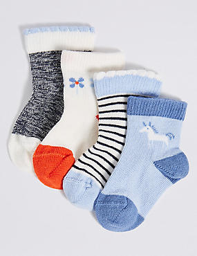 4 Pairs of Cotton Rich StaySoft™ Assorted Socks (0-24 Months)